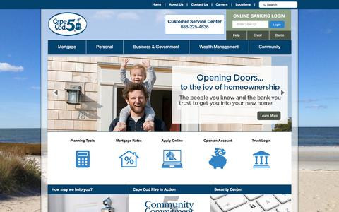 Screenshot of Home Page capecodfive.com - Welcome - The Cape Cod Five Cents Savings Bank (Orleans, MA) - captured Dec. 2, 2016