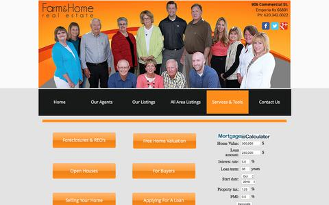 Screenshot of Services Page farmandhomecompanies.com - Real Estate Tools - captured Oct. 13, 2017