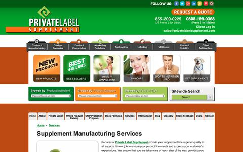 Screenshot of Services Page privatelabelsupplement.com - Private Label Supplements: Vitamin and Nutraceutical Supplements - captured Dec. 8, 2018