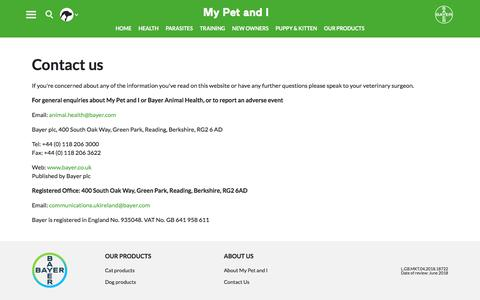 Screenshot of Contact Page bayer.com - Contact us | My Pet and I - captured July 5, 2018