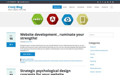 Screenshot of Blog cronj.com - CronJ Blog - Node.js | AngularJS | React | Blog - captured July 17, 2016