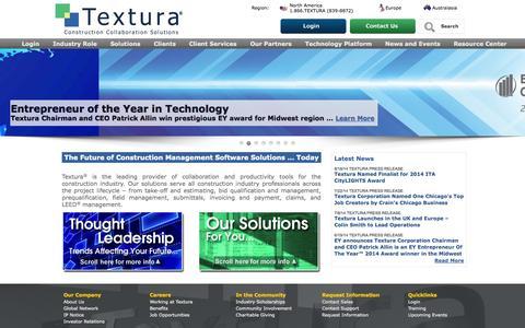 Screenshot of Home Page texturacorp.com - Textura Corporation | Construction Management Software | - captured Sept. 17, 2014