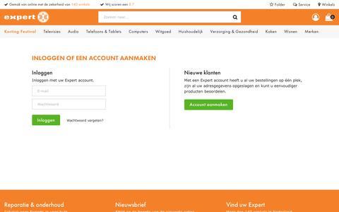 Screenshot of Login Page expert.nl - Inloggen of een account aanmaken | Expert.nl - captured Sept. 25, 2018