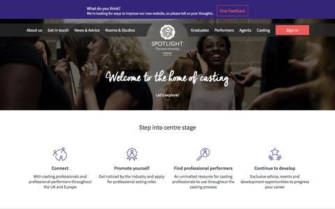 Screenshot of Home Page spotlight.com - Spotlight: The home of casting - captured Oct. 5, 2016