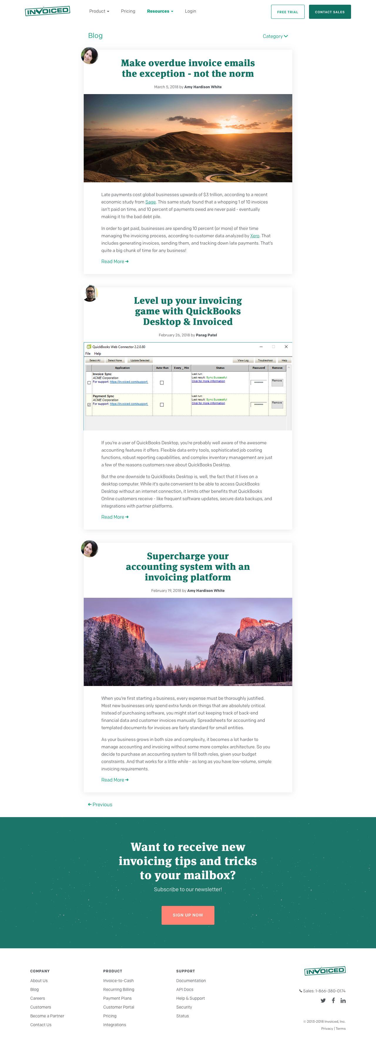 Screenshot of invoiced.com - Invoiced Blog - captured March 8, 2018