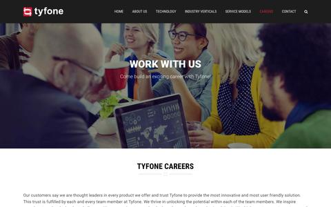 Screenshot of Jobs Page tyfone.com - Careers | Tyfone - captured Feb. 21, 2016