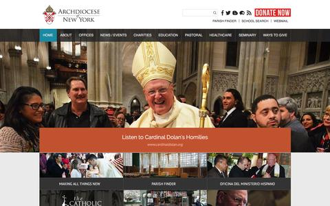 Screenshot of Home Page archny.org - Archdiocese of New York - captured Feb. 6, 2016