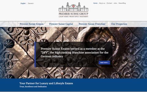 Screenshot of Home Page premier-suisse-group.com - Premier Suisse Group - captured Sept. 30, 2014