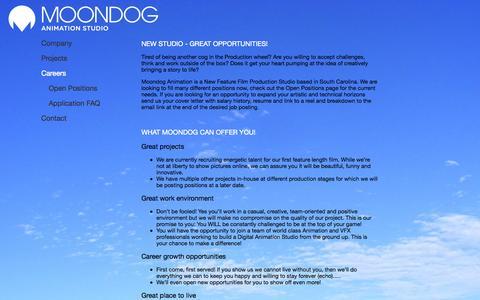 Screenshot of Jobs Page moondog-animation.com - Moondog Animation Jobs - captured Oct. 3, 2014