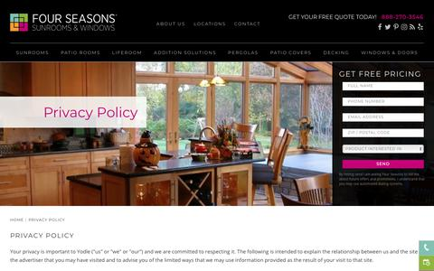 Privacy Policy | Four Seasons Sunrooms