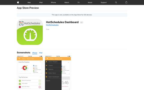 HotSchedules Dashboard on the AppStore