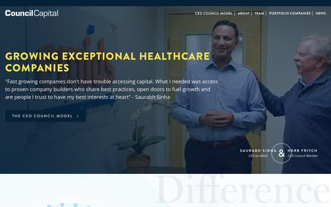 Screenshot of Home Page councilcapital.com - Council Capital – Growing Exceptional Healthcare Companies - captured July 22, 2018