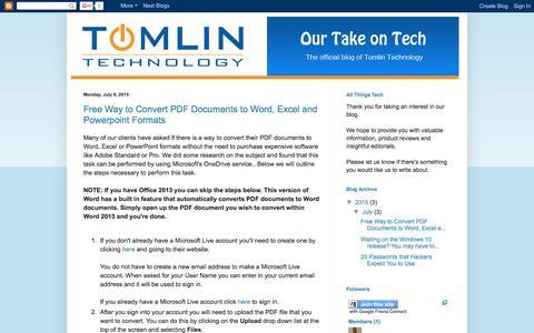 Screenshot of Blog tomlintech.com - Our Take on Tech - captured June 25, 2016