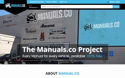 Screenshot of About Page manuals.co - Manuals.co - Every Manual for Every Vehicle. 100% Free - captured Jan. 19, 2016