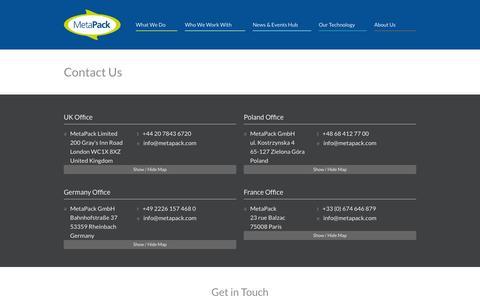 Screenshot of Contact Page metapack.com - MetaPack | Contact Us - captured Oct. 28, 2014