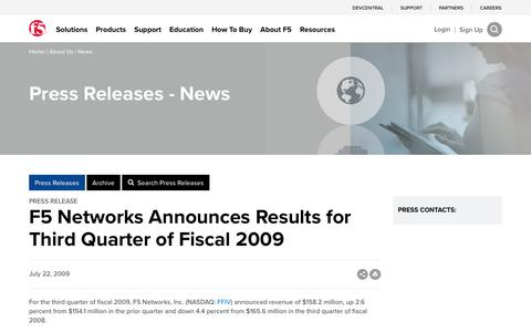 Screenshot of Press Page f5.com - F5 Networks Announces Results for Third Quarter of Fiscal 2009 - captured March 8, 2018