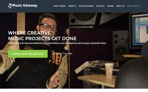 Screenshot of Home Page musicgateway.net - Music Collaboration | Music Career Development | Music Industry Jobs - captured Jan. 14, 2016