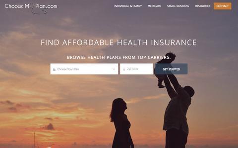 Screenshot of Home Page choosemyplan.com - Find Affordable Health Insurance. Buy Medical Coverage Online. - captured Sept. 20, 2015