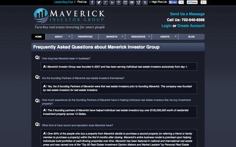 Screenshot of FAQ Page maverickinvestorgroup.com - Frequently Asked Questions (FAQ's)   maverickinvestorgroup.com - captured Oct. 27, 2014
