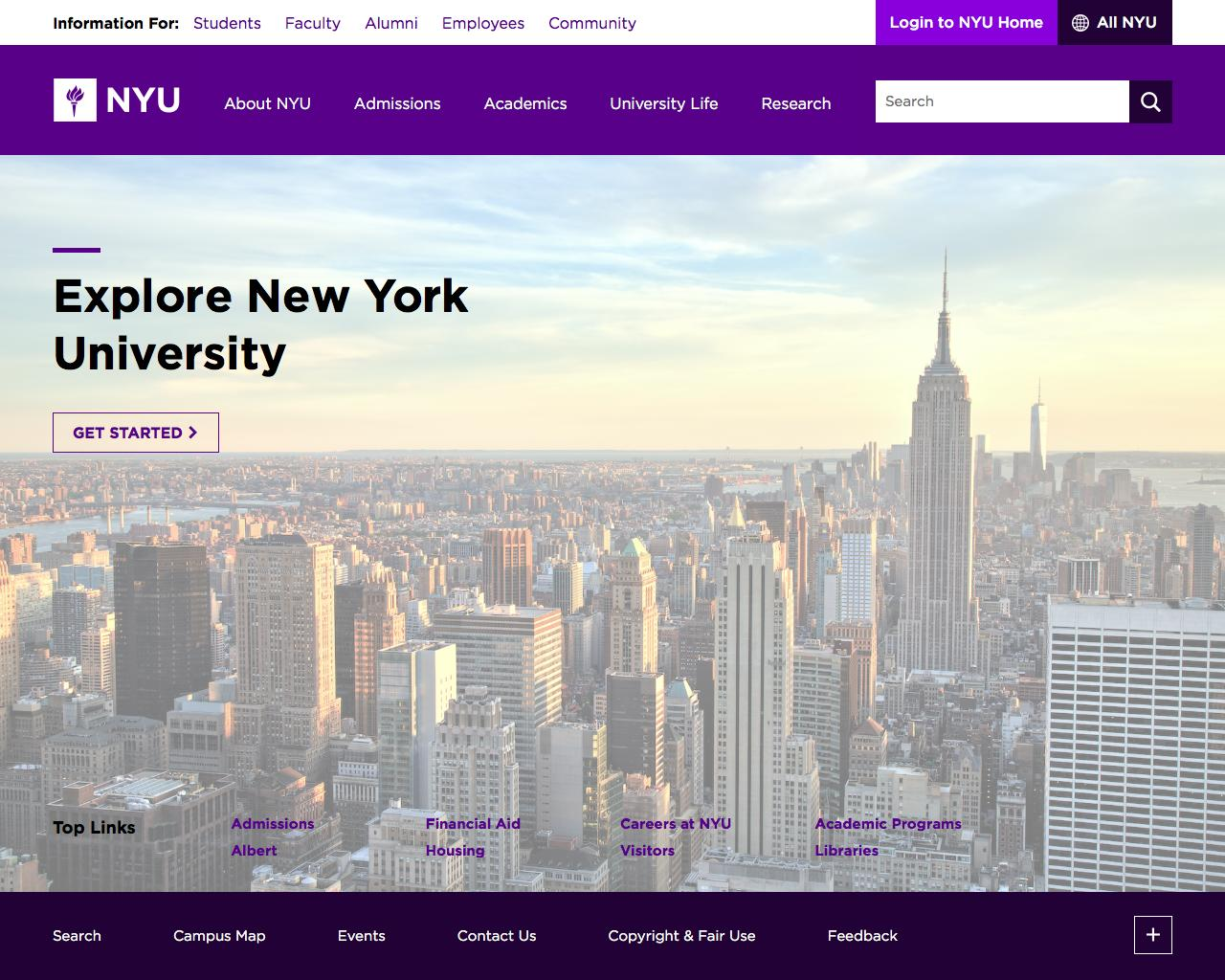 Screenshot of nyu.edu - NYU - captured Jan. 27, 2017