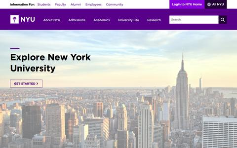 Screenshot of Home Page nyu.edu - NYU - captured Jan. 27, 2017