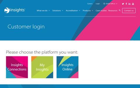 Screenshot of Login Page insights.com - Customer login - captured May 23, 2017