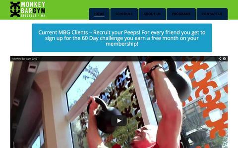 Screenshot of Home Page monkeybargymbellevue.com - Monkey Bar Gym Bellevue | - captured Oct. 6, 2014