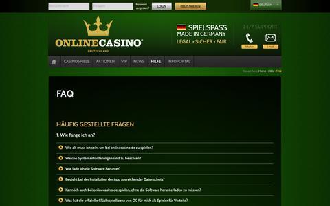 Screenshot of FAQ Page onlinecasino.de - FAQ | OnlineCasino - Deutschland - captured Sept. 19, 2014
