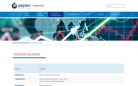 Screenshot of aspenpharma.com - Investor calendar – Aspen Holdings - captured June 13, 2017