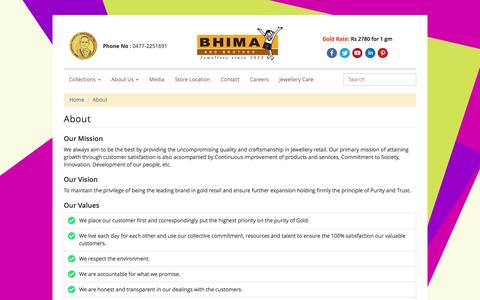 Screenshot of About Page bhima.in - BHIMA Jewellery About Us | Bhima and Brother Jewellers Official Web Site - captured Nov. 21, 2016