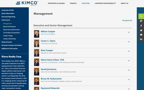 Screenshot of Team Page kimcorealty.com - Kimco Realty Corporation - captured Nov. 18, 2018