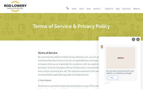 Screenshot of Privacy Page FAQ Page rodlowery.com - Privacy Policy | Rod Lowery | Marketing Services in Orlando, Florida - captured Nov. 11, 2018