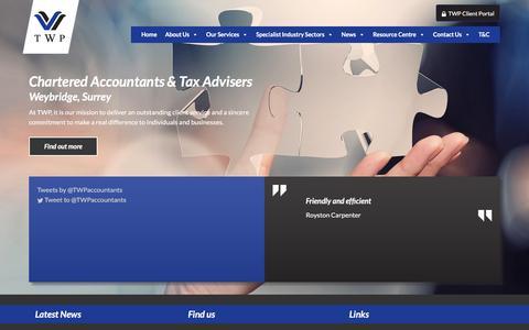 Screenshot of Home Page twpaccounting.co.uk - TWP Accounting   Chartered Accountants & Tax Advisers in Weybridge, Surrey - captured Feb. 17, 2016