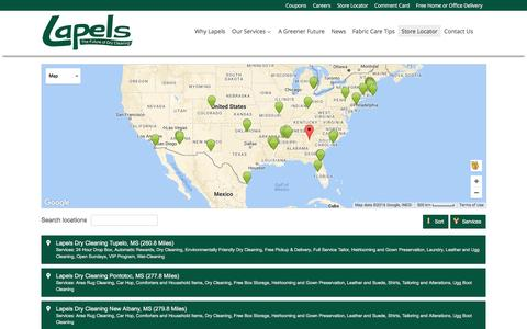 Screenshot of Locations Page mylapels.com - Store Locator - Lapels Dry Cleaning - captured Oct. 25, 2016