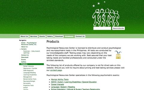 Screenshot of Products Page psyresources.com - Products - Psychological Resources Center - captured Oct. 3, 2014