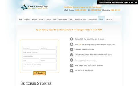 Screenshot of Signup Page taskseveryday.com - Hire a Virtual Assistant Today | Tasks Everyday Online Workers - captured Oct. 30, 2014