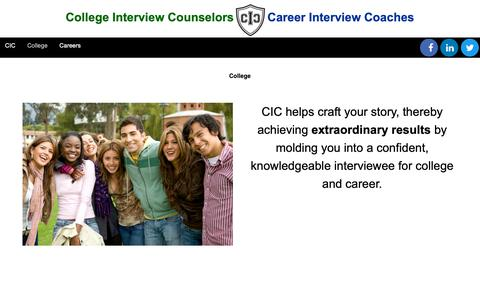 Screenshot of About Page collegeinterviewcounselors.com - College - College Interview Counselors - captured Sept. 29, 2018