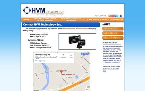 Screenshot of Contact Page hvmtech.com - High Voltage Custom Power Supplies - HVM Technology Inc. - captured Jan. 24, 2016