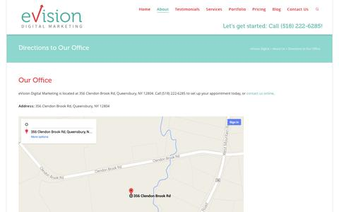 Screenshot of Maps & Directions Page evisiondigital.com - Directions to Our Office - eVision Digital - captured Nov. 2, 2014