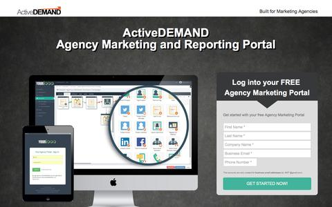 Screenshot of Landing Page activedemand.com - Your Agency Portal - captured May 17, 2017