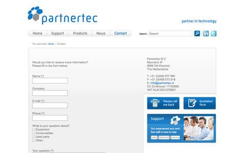 Screenshot of Contact Page partnertec.nl - Contact - Partnertec - captured Oct. 2, 2014
