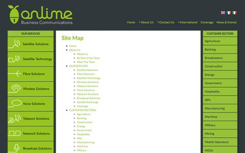 Screenshot of Site Map Page onlime.com - Onlime Business Communications - Leading the way - captured Oct. 9, 2014