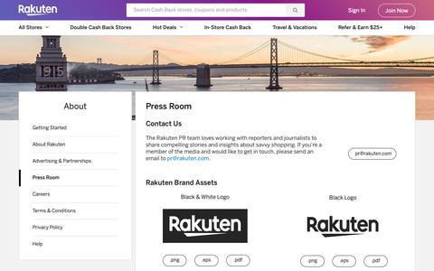 Screenshot of Press Page rakuten.com - Rakuten in the News - Press Room   Rakuten - captured Feb. 4, 2019