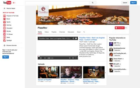 Screenshot of YouTube Page youtube.com - PizzaRev  - YouTube - captured Oct. 28, 2014