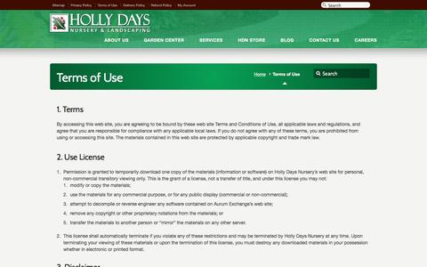 Screenshot of Terms Page hollydaysnursery.com - Terms of Use – Holly Days Nursery - captured May 21, 2017