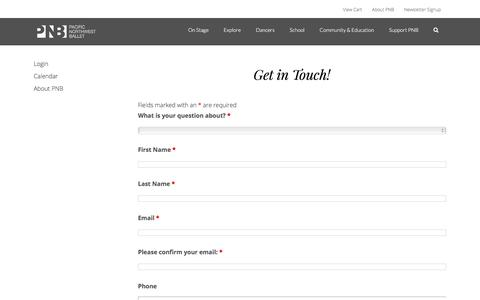 Screenshot of Contact Page pnb.org - How to Contact Pacific Northwest Ballet - captured Oct. 5, 2019