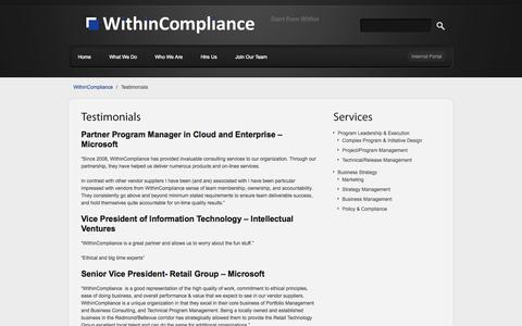 Screenshot of Testimonials Page withincompliance.com - Testimonials - WithinComplianceWithinCompliance - captured Oct. 26, 2014