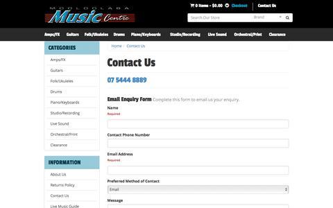Screenshot of Contact Page mooloolabamusic.com.au - Contact Us - captured June 2, 2016