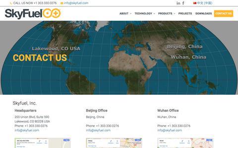 Screenshot of Contact Page skyfuel.com - Contact Us – SkyFuel Inc. - captured Oct. 21, 2017