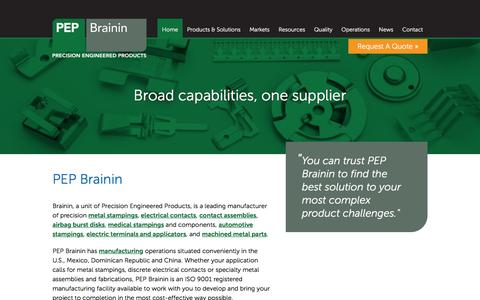 Screenshot of Home Page pepbrainin.com - Precision metal stamping and electrical contacts - captured Feb. 8, 2016